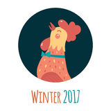Cartoon rooster in round frame. Symbol of the year. Winter flat illustration. White background Stock Photography