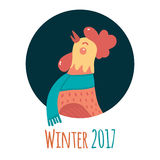 Cartoon rooster in round frame. Winter 2017. Stock Image
