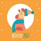 Cartoon rooster in round frame. Winter 2017. Stock Photo