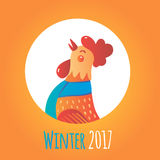 Cartoon rooster in round frame. Winter 2017. Stock Images