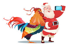Cartoon Rooster And Santa Clause Making Selfie Photo On Smart Phone Happy 2017 New Year. Flat Vector Illustration Royalty Free Stock Images