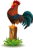 Cartoon Rooster standing on tree stump Royalty Free Stock Image