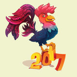Cartoon rooster stands on 2017 figures Stock Photo