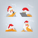 Cartoon Roosters and hens. Humorous students at lecture. Cartoon rooster Playing Games on a Computer, chicken making self and sleep cock. Light bird with red royalty free illustration
