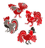 Cartoon roosters. Royalty Free Stock Photography