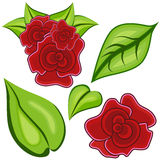 Cartoon Rose Leaf Icon Set Royalty Free Stock Image