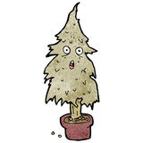 Cartoon rotten old chirstmas tree. Retro cartoon with texture. Isolated on White Royalty Free Stock Photo