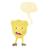 Cartoon rotten tooth character with speech bubble Royalty Free Stock Photo