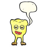 Cartoon rotten tooth character with speech bubble Stock Images