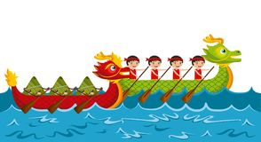 Cartoon rowing team chinese rice dumpling festival. Vector illustration Stock Images