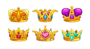Cartoon royal crown icons set. Vector king, queen, prince, princess attributes.  on white background. Decorative assets for game design Stock Photos