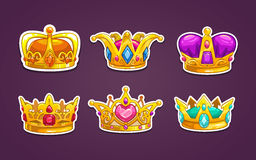 Cartoon royal crown icons set. Royalty Free Stock Image