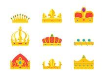 Cartoon Royal Golden Crown Icons Set. Vector Stock Photos