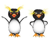 Cartoon royal penguins with big yellow eyebrows indignant and angry  Royalty Free Stock Image