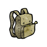 Cartoon rucksack. Retro cartoon with texture. Isolated on White Stock Images
