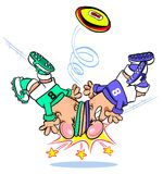 Cartoon rugby match Stock Image