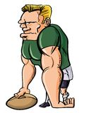 Cartoon Rugby player with a ball Stock Photos