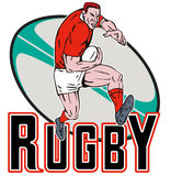 Cartoon Rugby player fending Stock Photos