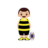 Cartoon rugby player  illustration. Isolated Royalty Free Stock Image