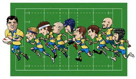 Cartoon rugby team. Cartoon illustration - Nine rugby players running - Grass field on the background Stock Photography