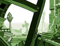 Cartoon ruins of houses Stock Image