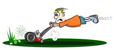 Cartoon runaway lawnmower Stock Photography