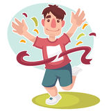 Cartoon runner. Happy runner, vector cartoon character Royalty Free Stock Photography