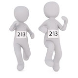 Cartoon Runners Wearing Number 213 in Race Stock Photos