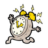 Cartoon running alarm clock Stock Image