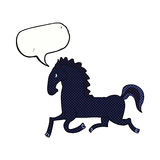 Cartoon running black stallion with speech bubble Stock Photography