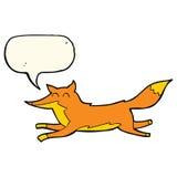 Cartoon running fox with speech bubble Stock Images
