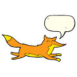 Cartoon running fox with speech bubble Royalty Free Stock Image