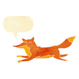 Cartoon running fox with speech bubble Stock Image
