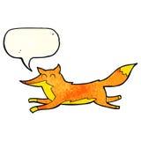 Cartoon running fox with speech bubble Stock Photos