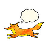 Cartoon running fox with thought bubble Stock Images