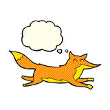 Cartoon running fox with thought bubble Royalty Free Stock Photography