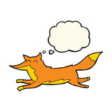 Cartoon running fox with thought bubble Stock Image