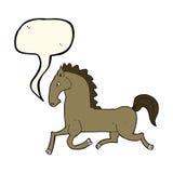 Cartoon running horse with speech bubble Stock Photography