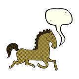 cartoon running horse with speech bubble Stock Photography