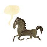 Cartoon running horse with speech bubble Stock Photo