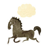 Cartoon running horse with thought bubble Royalty Free Stock Photo