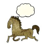 cartoon running horse with thought bubble Royalty Free Stock Images