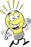 Cartoon running light bulb Stock Photos
