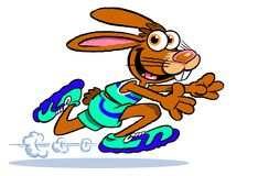 Cartoon running rabbit Stock Photo