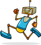 Cartoon running robot illustration Royalty Free Stock Photo