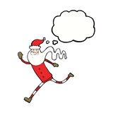 Cartoon running santa with thought bubble Royalty Free Stock Photography