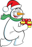 Cartoon running snowman with a gift Stock Image