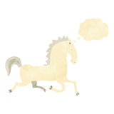 Cartoon running white stallion with thought bubble Stock Image