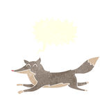 Cartoon running wolf with speech bubble Royalty Free Stock Photography