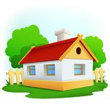 Cartoon rural house with among trees and fence Royalty Free Stock Image